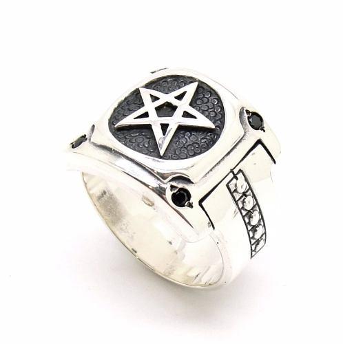 Anel Pentagrama Salomão Genuina Prata De Lei Espinelio