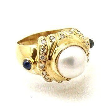 Anel Pérola Mabe e Safiras com Diamantes Ouro 18K 11439 K965