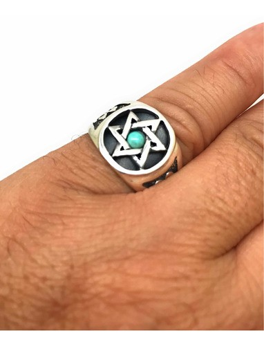 Anel Prata De Lei Estrela Turquesa Davi Salomão Hexagrama 20623