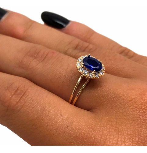 Anel Princesa Kate Middleton Lady Di Safira Ouro 18K 26150 K260