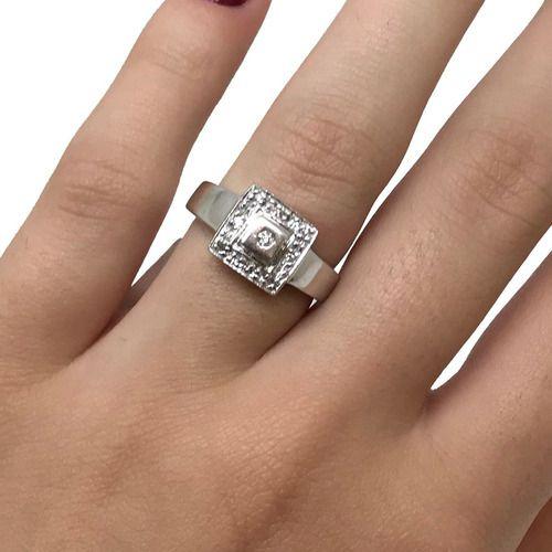 Anel Quadrado com Diamantes Ouro Branco 18K 06735 K554
