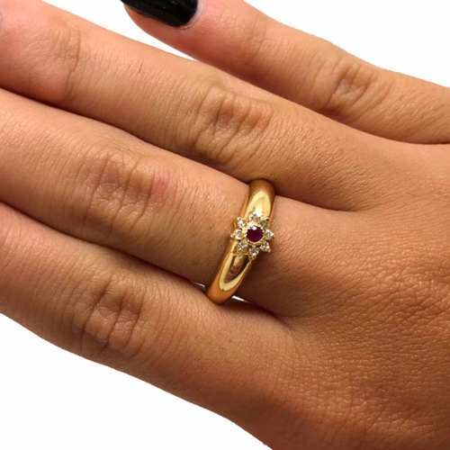Anel Rubi Diamantes Naturais Feminino Ouro 18K K585 07513