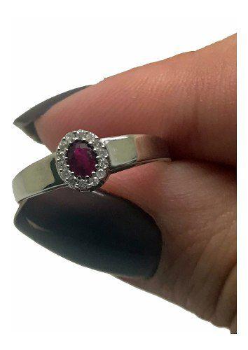Anel Rubi e Diamantes Diamantes Naturais Extra Ouro Branco 18K 24319 K565