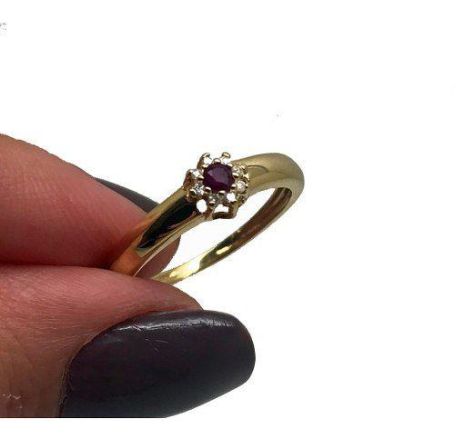 Anel Rubi e Diamantes Diamantes Naturais Extra Ouro Branco 18K 24326 K380