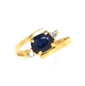 Anel Safira Azul Genuína Diamantes Ouro 18K 18642 K455