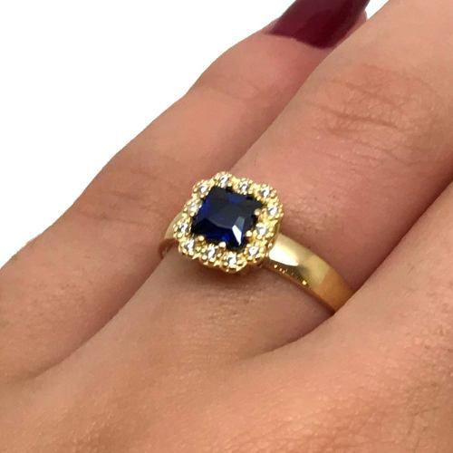 Anel Safira Azul Sintética Princess Formatura Ouro 18K 21500