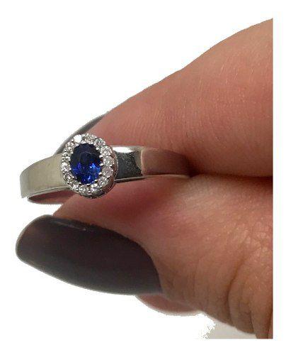 Anel Safira e Diamantes Naturais Extra Ouro Branco 18K 24312 K560