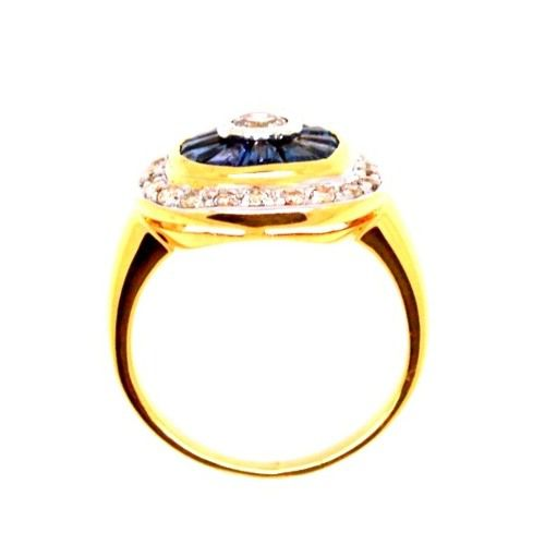 Anel Safira Trapézio e Diamantes Ouro 18K 09589 K965
