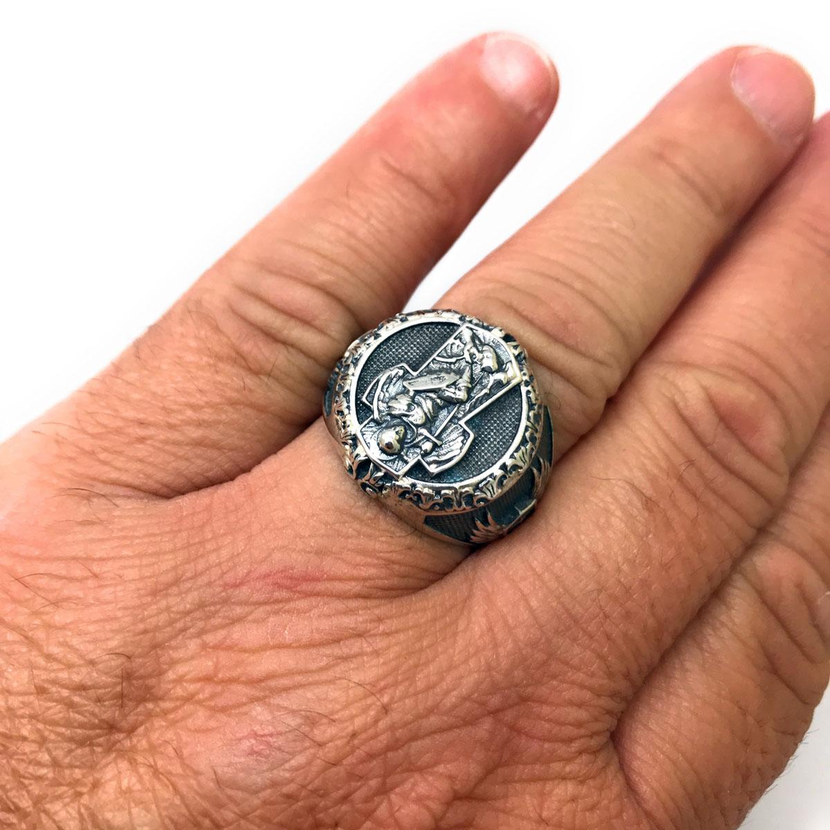 Anel São Miguel Arcanjo Cruz Escudo Prata De Lei 25688