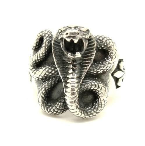 Anel Serpente Naja Indiana Flor de Lis Genuina Prata de Lei 20613