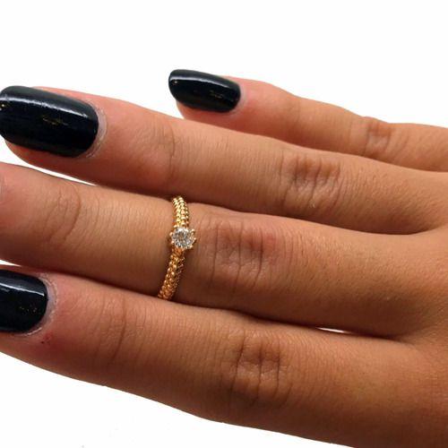 Anel Solitário 15 Pts Diamante Natural Ouro 18K K570 21057