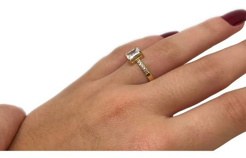 Anel Solitário Diamantes Retangular Ouro 18K 23746