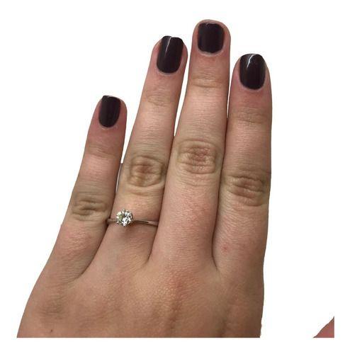 Anel Solitário Diamante 33 Pontos Ouro Branco 18K K870 05194