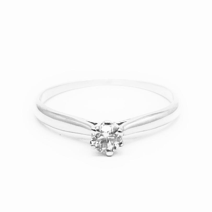 Anel Solitário Diamante brilhante natural com 11 pontos Ouro branco 18K