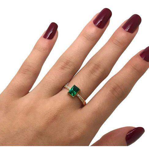 Anel Solitário Esmeralda Verde Ouro 18K 23746