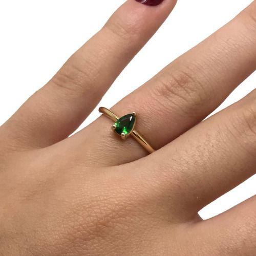 Anel Solitário Verde Esmeralda Ouro 18K Reforçado 23748