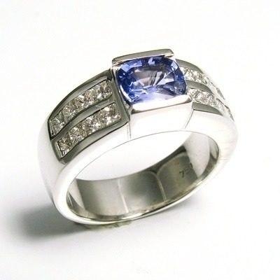 Anel Tanzanita Extra Diamantes Ouro Branco 18K 11107 K2600