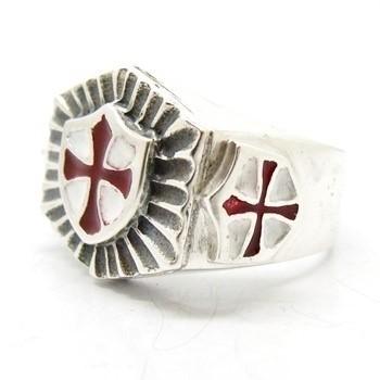 Anel Templário Brasão Esmaltado Prata Genuina 14155