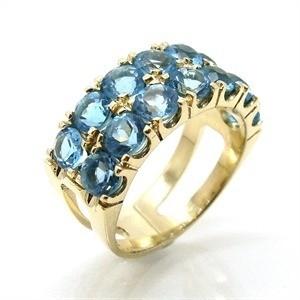 Anel Topázio Azul Natural Ouro 18K 16455