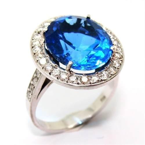 Anel Topázio Swiss Blue Diamantes Ouro Branco 18K 15278