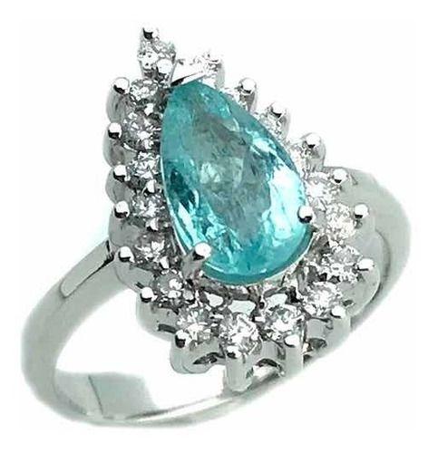 Anel Turmalina Paraíba Azul Gota e Diamantes Ouro Branco 18K