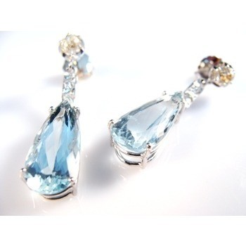 Brinco Água Marinha E Diamantes 0,64 Cts Ouro Branco 11605