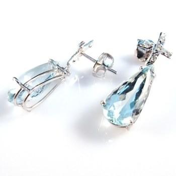 Brinco Água Marinha Gotas 10 Diamantes Ouro Branco 11606