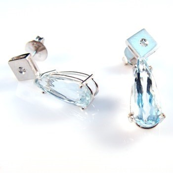 Brinco Água Marinha Gotas Com Diamantes Ouro Branco 11607