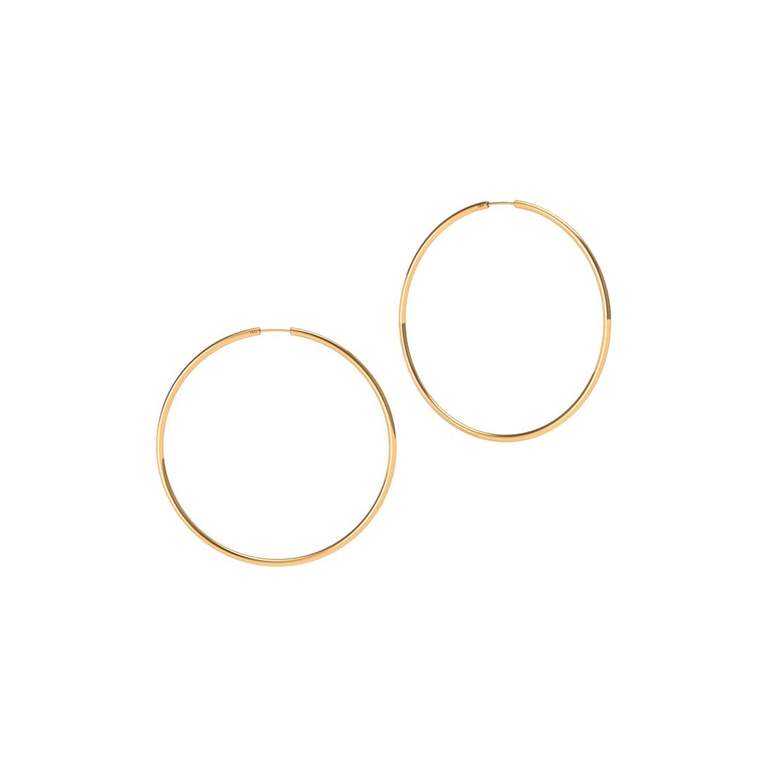 Brinco Argola 14 Milímetros Fio Redondo Unissex Ouro 18K K060 03327