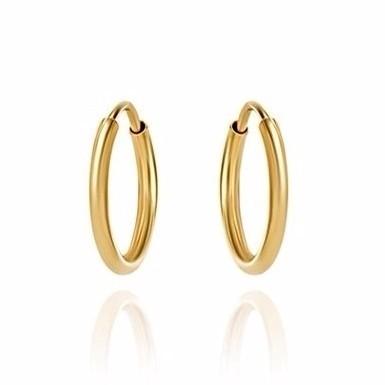 Brinco Argola 14 Milímetros Simples Unissex Ouro 18K 00175