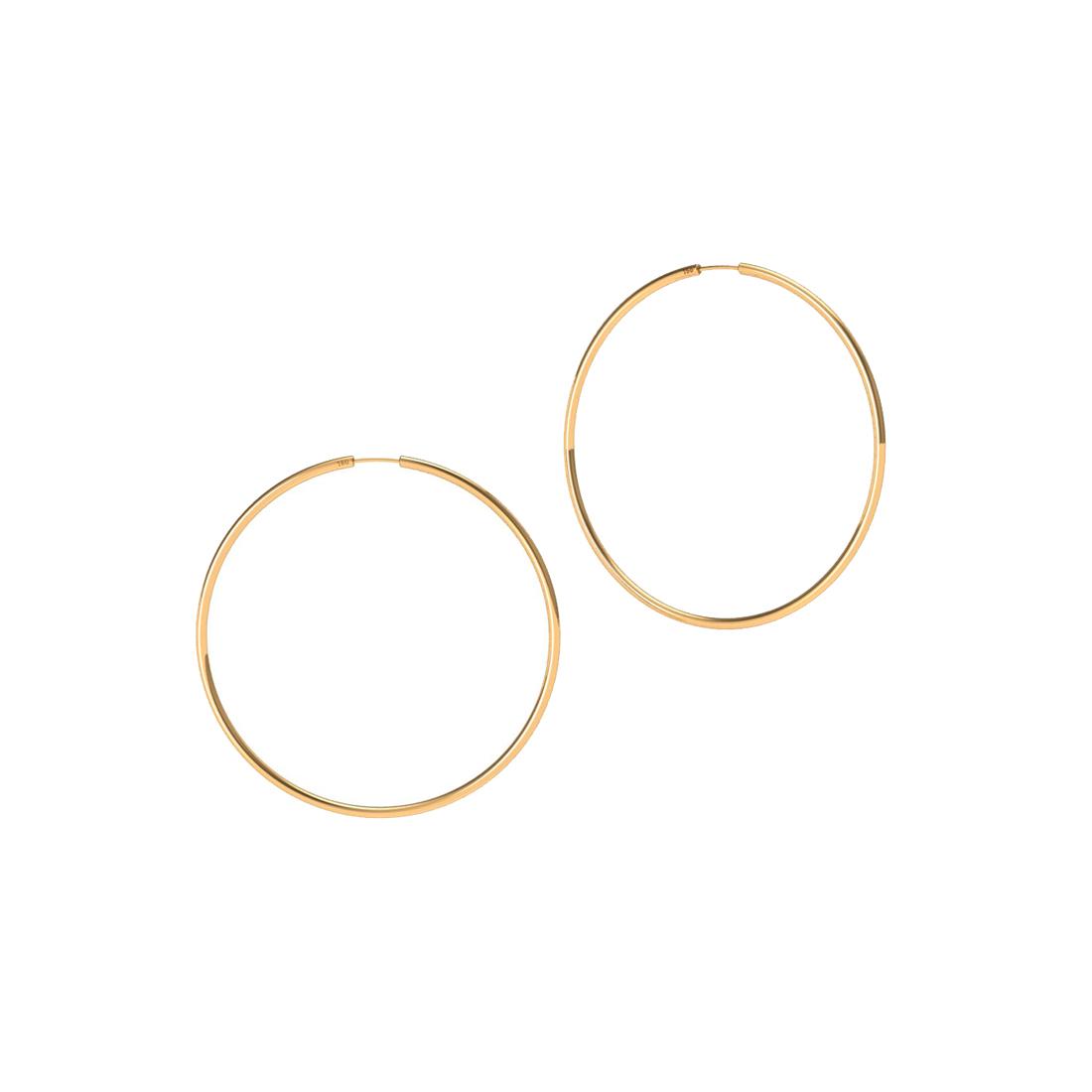 Brinco Argola 25 Milímetros Fio Redondo Unissex Ouro 18K K110 03526