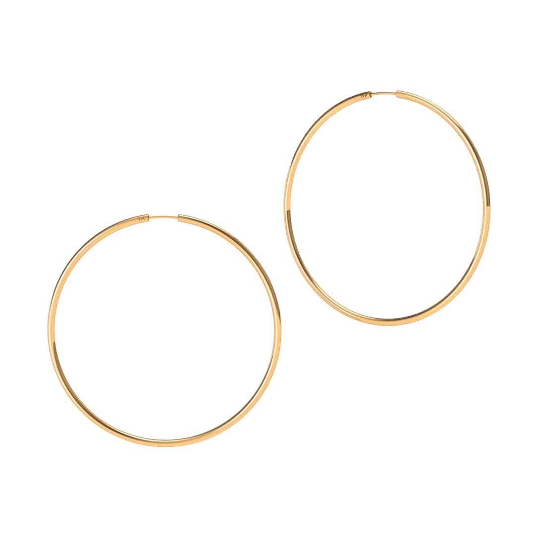 Brinco Argola 33 Milímetros Fio Redondo Unissex Ouro 18K K150 23117