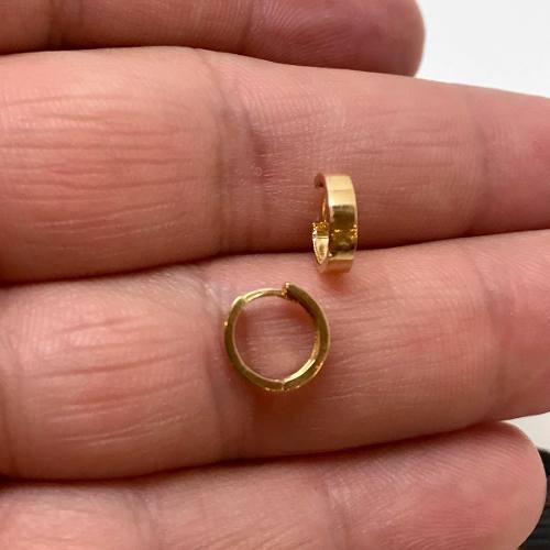 Brinco Argola Reta Ouro 18K Pequeno Clip Italiano 24299 K100