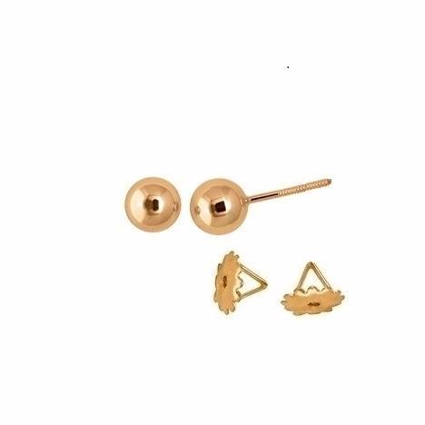 Brinco Bola 7 Milímetros Ouro 18K Tarraxa Rosca K105 21660