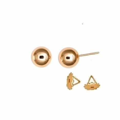 Brinco Bola 8 Milímetros Ouro 18K Com Tarraxa Rosca 21975 K140