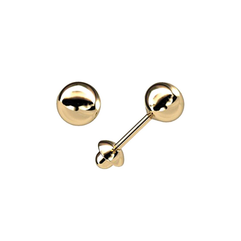 Brinco Bolinha 4 Milímetros Ouro 18K Baby Press 22243 K035