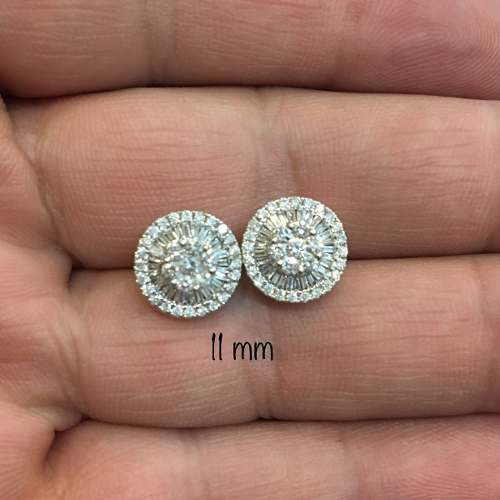 Brinco Pizza 11 Milímetros Diamante brilhante Ouro Branco 18K 23985