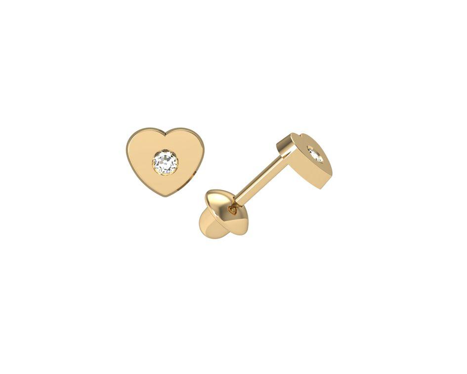 Brinco Coração 3,5 Milímetros Zircônia Ouro 18K 24310 K055