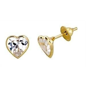 Brinco Coração Zircônia 3,5 Milímetros Ouro 18K 20036 K038