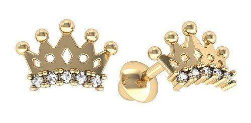 Brinco Coroa Brilhante Zircônia Ouro 18K 22776 K095