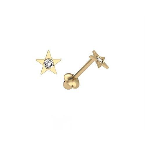 Brinco Estrelinha Brilho Zircônia Ouro 18K K060 22248