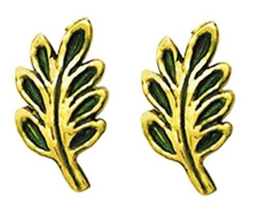 Brinco Folha De Acácia Esmaltado Em Ouro 18k Maçonaria K160