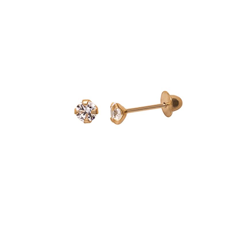 Brinco Infantil Zircônia Brilhante 2,5 Milímetros Ouro 18K Tarraxa Rosca 08909 K035