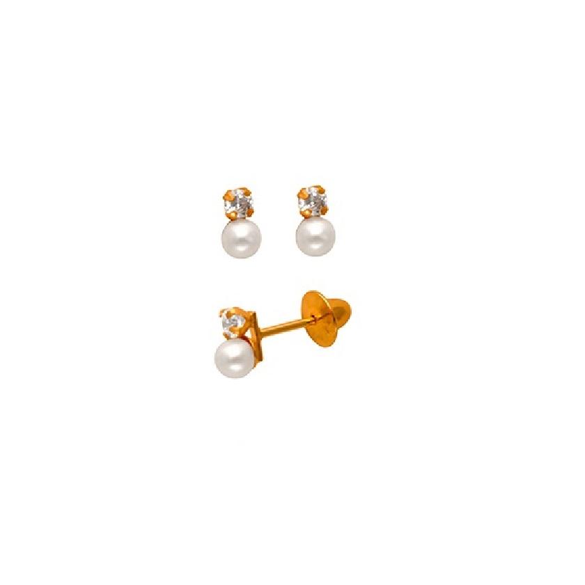 Brinco Pérola 2,5 Milímetros Zircônia Ouro 18K Baby Press 24190 K050