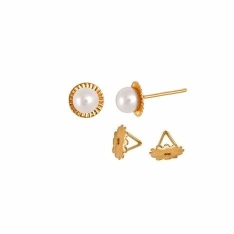 Brinco Pérola 3 Milímetros Espelhinho Ouro 18K Tarraxa Rosca 10945 K065