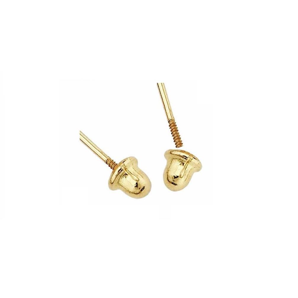 Brinco Pérola 3 Milímetros Ouro 18K Tarraxa Rosca 16931 K035