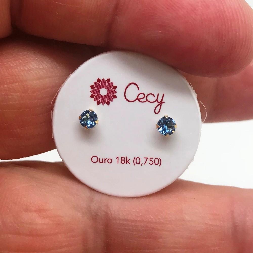 Brinco Ponto De Luz Zircônia 2,8 Milímetros Baby Press Ouro 18K 09178