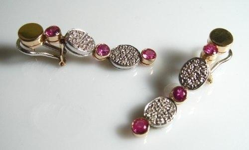 Brinco Rubi Rose Extra Pavê De Diamantes Ouro 18K K910