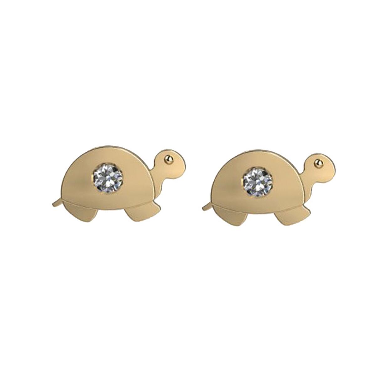 Brinco tartaruguinha Zircônia Ouro 18K Baby Press 23484 K085