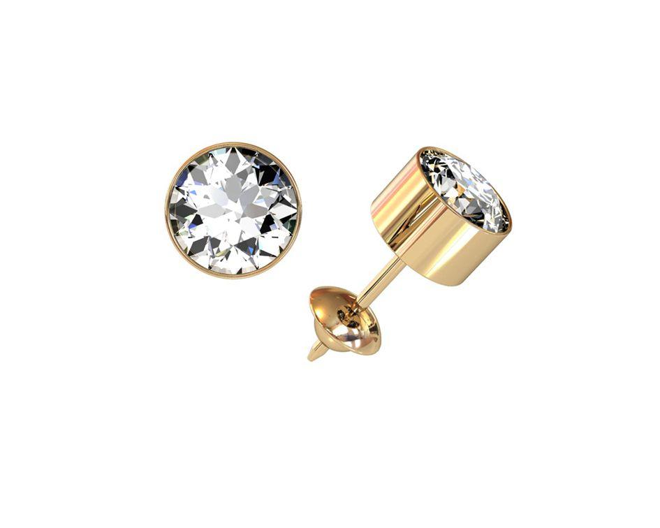 Brinco Tubinho Zircônia 5,5 Milímetros Em Ouro 18K 22244 K090